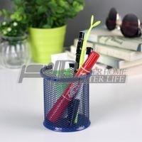 Wholesale 10pcs Fashion Office Stationery Round Pen Holder Metal Mesh Spray Rust proof Mesh