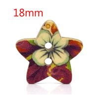 Cheap 100 Pcs Star Shape 2 Holes Wood Sewing Buttons 18x17mm W01431 Knopf Bouton(W01431 X 1)