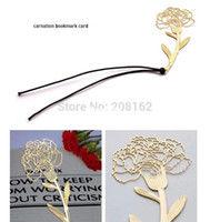 Wholesale Carnation Bookmark Card Flower Gold Metal Book Mark Wedding Favors and Gifts SQ14070308 mix order usd