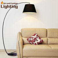 Wholesale Creative Modern Floor Lamp Ikea Style LED Fishing Floor Light Linen Lace White Red Black Light Shade