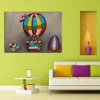 balloons pictures - Handpainted Oil Paintings Hot Balloon Concert Playing Art Pictures High Quality Wall Stickers On Canvas Unique Gift Home Decor