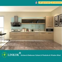 Wholesale Linkok Furniture laminated mdf kitchen cabinet and lacquer finish kitchen cabinet and flat pack mdf bathroom cabinet