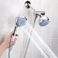 bath contemporary - High Quality Bathroom Wall mounted Dual Head in Bath Shower Spray Set with Handheld Shower Head H16543