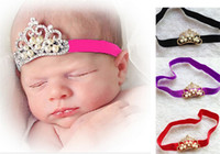 Wholesale baby hair accessories baby headband girl kids children hairband crown headband with diamond and pearl mixed colors