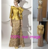 Cheap Vintage Yellow Mother Of The Bride Dresses 2016 With Coat V Neck Mermaid Lace Satin Real Image Women Evening Special Occasion Wedding Gowns