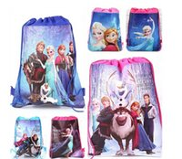 Backpacks disney wholesale - Disney Ice Colors Double Sided Non Woven Fabric Printing Beam Pocket Draw String Bag Of Gifts For Children Backpack