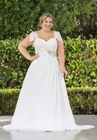 plus size wedding dresses with sleeves - 2014 New A Line Summer Beach Chiffon Wedding Dresses Plus Size Long Princess Bridal Gowns With Capped Sleeve W1359 Low Back Lace Up Crystal