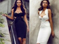 Cheap New Women's Sexy White Black Celebrity Bandage Bodycon Dress 6489 Halter Sweetheart Backless Knee-Length Evening Party Cocktail Pencil Dress