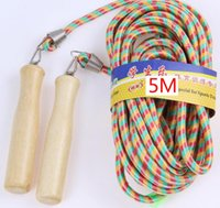 Wholesale 5 meters long jump rope Many people group collective rope skipping Wooden handle fitness exercise