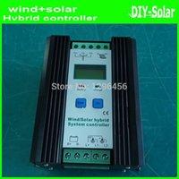 achat en gros de régulateurs de charge hybrides-Contrôleur hybride solaire 450W MPPT éolienne 12V 24V, 300W Turbine Vent + contrôleur de charge 150W Panneau solaire 12V / 24V de Hybrid Intelligent