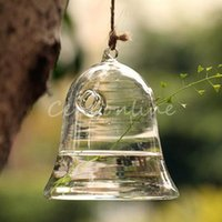 Wholesale Romantic design Hanging Transparent Glass Bell Plants Flower Vase Hydroponic Container Party Wedding Study Home Decoration Gift