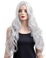 Cheap Silver Long Wavy Capless Synthetic kanekanlon Wigs