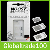 Wholesale Noosy Micro SIM Adapter in Nano Sim Card Adapters Pin for iPhone Samsung Sony HTC Cell Phone