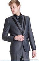 Wholesale High Quality Slim Fit Groom Tuxedos Wedding Suit For Men Designers Tailored Prom Suit Boyfriend Blazer Bridegroom Jacket Pants tie Vest
