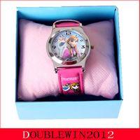 Wholesale 100Pcs New style Cartoon frozen Wristwatch Kids Lovely Fashion Watch Children Watch With Gift Box