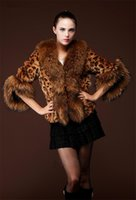 Wholesale Womens Faux Fur Leopard Warm Coat Ladies Grace Lapel neck Fur Collar Slim Winter Thick Lining Outwear with Drawstring WT134