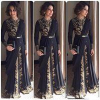 afghan brown - Elegant Black Long Sleeves Arabic Evening Dresses Floor Length Appliqued Musilm Dubai Prom Dresses Ruffles Afghan Celebrity Gowns