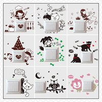 bathroom decor cats - 1 Set of Removable Cute Lovely Cat Switch Wall Sticker Vinyl Decal Home Decor