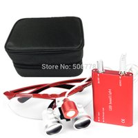 Cheap Dental Surgical Medical Binocular Loupes 3.5X and 4.5x Optical Glass Loupe+LED Head Light Lamp+Black case Five color for loupes