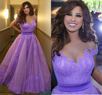 beat club - Said Mhamad Purple Evening Dresses Sheer Neck Lace Applique Floor Length Formal Help Party Evening Gowns Off Shoulder Wear Beat Quality