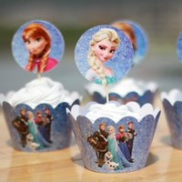 cake box - New Frozen Cupcake Wrapper Decorating Boxes Cake Cup Tools With Toppers Picks For Kids Birthday Christmas Decorations Supplies Favors