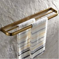 Wholesale And Retail Bathroom Antique Brass Dual Towel Bars Hangers Wall Mounted Towel Rack Holder