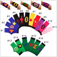 Wholesale 16 Styles Superhero Arm Bands Kids Cosplay Supplies Superman Batman Spiderman Wrist Arm Bands Children Superhero Wrist
