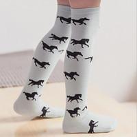 Wholesale 2016 New Fashion Kartoon Horse Baby Kids Girls Boys Long Children Socks Knee high stockings T
