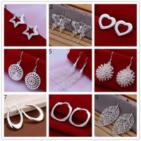 Cheap Mix order 10 diffrent pairs sterling silver Earrings DFMSE1J, brand new 925 silver women's jewelry earring