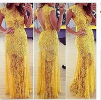 Cheap Yellow Lace Evening Dresses with Cap Sleeves High Neck Formal Dress Trumpet Style Party Dresses Backless Evening Gowns for Wedding Events