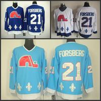 al por mayor vendimia quebec-Los hombres baratos Quebec Nordiques # 21 Peter Forsberg Jersey Los jerseys azules S-3XL del hockey sobre hielo del Aqua de la venta al por mayor CCM liberan el envío