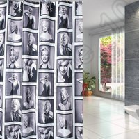 Wholesale 10PCS HHA587 New Waterproof Shower Curtain Marylin Monroe Flowers Shower Curtain Copper Buckle X180CM Hot Sell