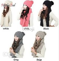 Wholesale Autumn and Winter Thermal Women s Hat Scarf Set Fashion Knitted Beanies and Scarves Colors