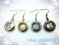 Wholesale 2015 new design floating charms locket pendant gold earring for christmas gifts