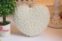 Wholesale 2015 New Arrival Mini Bridal Hand Pearls Bags Sweetheart Bag Dinner Handbag Fashion Modern Metal Chain Shoulder Evening Bags cm cm