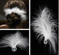 animals ornaments - The bride wedding hair accessories sell like hot cakes White feather hair U hairpin crystal ornaments