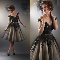 Wholesale 2015 Black Prom Dresses Short Sexy Cap Sleeve Applique Lace Ball Gown Knee Length Puffy Pageant Evening Gowns E6091