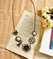 acrylic diamond crystal beads pendant - Charms Statement Necklaces Retro Diamonds Bow Pearls Pendant Necklace Crystal Beads Necklaces Women Jewelry Long Necklace MC