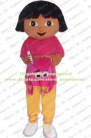 Wholesale Custom Brown Dora The Explorer Girl Mascot Costume Colleen Lassock Maidy Wearing White Shoes Mascotte Adult No Free Ship