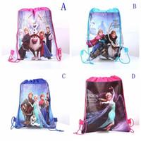 Wholesale 2015 New Nylon Frozen Anna Elsa School Bags Backpack Frozen Drawstring Bags Children s Bags kids Shopping Bags Gift for Kids
