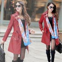 Wholesale 2015 The new spring Leather coat pu washed leather Slim long coat Size Jackets color yards B