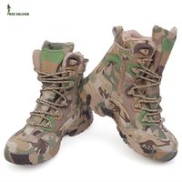 camouflage fabric - Waterproof Multicam Military Men s outdoor Boots Shoes Leather Hunting Hiking Shoes Camouflage Boot size