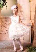 Cheap New Arrival 2015 Little Girls Pageant Dress White Ball Gown Beads Lace Rhinestone Flower Girls Dress For Wedding Knee-Length