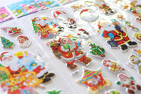 Wholesale New toys sticker Christmas Toy Stereoscopic Christmas stickers Santa Claus cartoon stickers The Christmas wall Decorative Stickers for kids