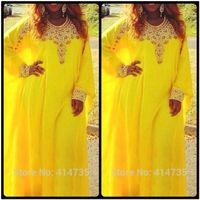 art fancy - Arabic Style Dubai Kaftan Dress New Fancy Long Sleeve Jewel Neck Yellow Chiffon Abaya Evening Dresses With Gold Beaded