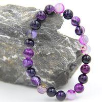 bead semiprecious - MM fancy gorgeous color line agate beads gem natural stone semiprecious stone elasticline bracelet bangle for men women