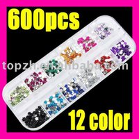 Wholesale Best Selling Fast Shipping SET NAIL ART flower Glitter Rhinestones C033