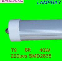 Wholesale 8 feet led ft single pin t8 FA8 Single Pin LED Tube Lights W Lm Bulbs MM feet LED Fluorescent Tube Lamps V