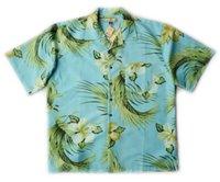bahama shirts - mens big and tall blue print silk hawaiian short sleeve shirt American bahama XL XXL XXXL