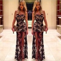 autumn spices - 2015 Black Lace Evening Spice Sheer Mesh sleeveless Mermaid Prom gowns Dress